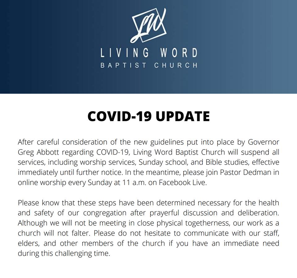 LIVING WORD BAPTIST CHURCH COVID-19 UPDATE